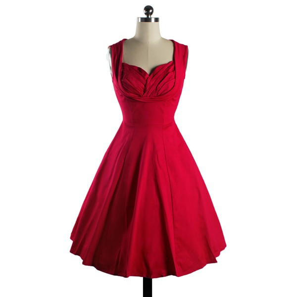 1950s Rockabilly Dress Cut Out V-Neck Vintage Casual Retro Dress red