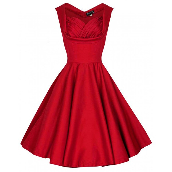 1950s Rockabilly Dress Cut Out V-Neck Vintage Casual Retro Dress red_01