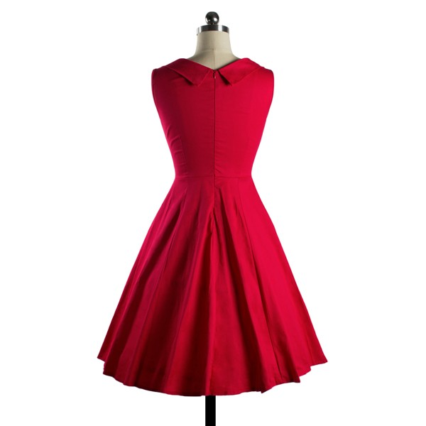 1950s Rockabilly Dress Cut Out V-Neck Vintage Casual Retro Dress red_02