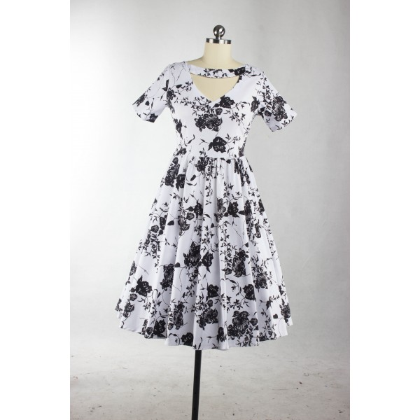 1950s Rockabilly Swing Classy Floral Vintage Short Sleeve Evening Party Dress CF1238_03