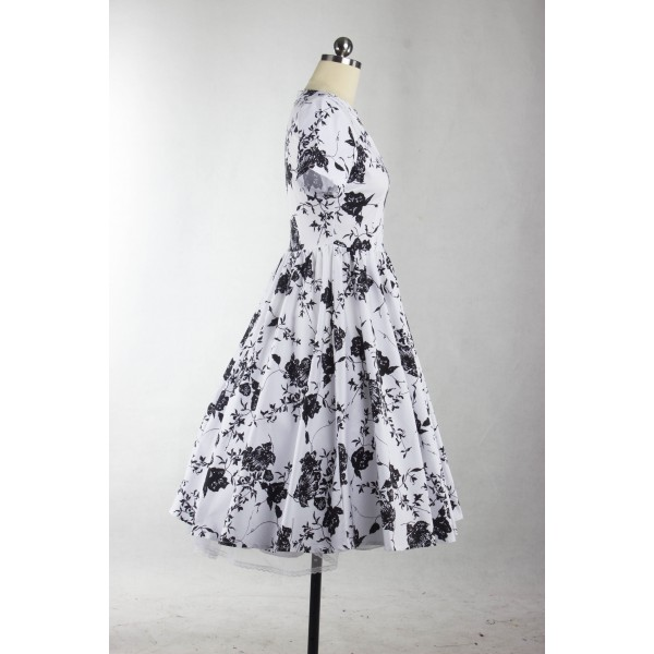 1950s Rockabilly Swing Classy Floral Vintage Short Sleeve Evening Party Dress CF1238_06