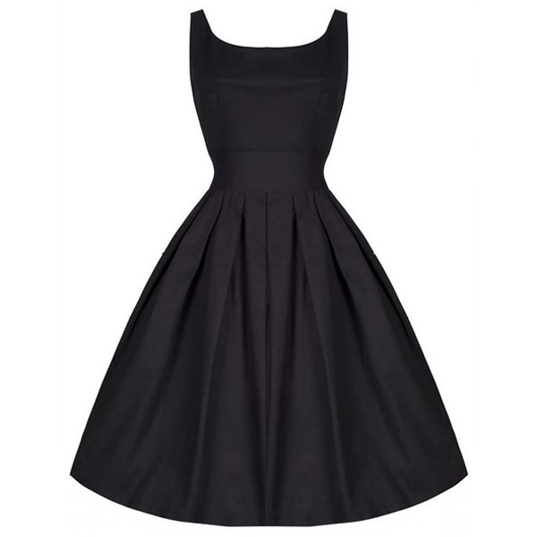 1950s V-Neck Sleeveless Vintage Rockabilly Swing Evening Party Stretchy Dresses black
