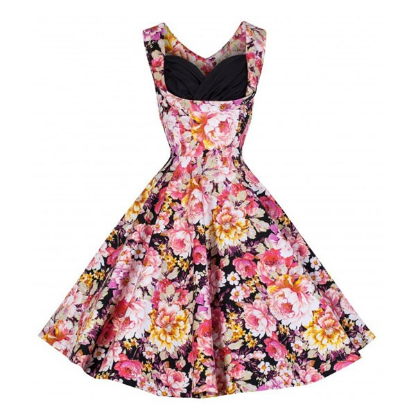 1950s V Neck Vintage Cut Out Retro Party Cocktail Swing Dresses pink flower