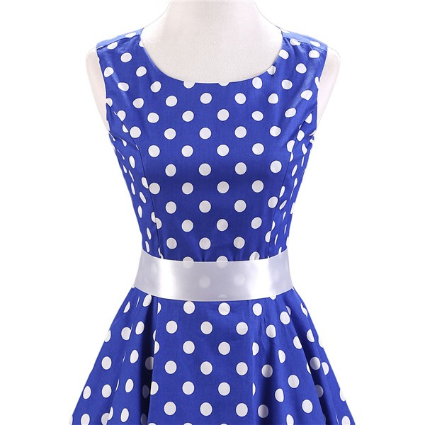 1aaec598d1b149 ... 1950s Vintage Audrey Hepburn Swing Pinup BoatNeck Sleeveless Tea Dress  CF1015 Blue 02 ...