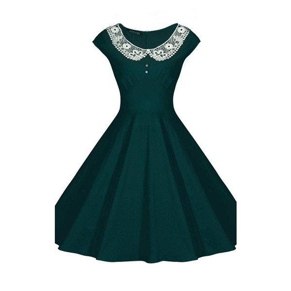 1950s Vintage Cap Sleeve Lace Single Color Party Swing A-line Dress CF1510 green_01