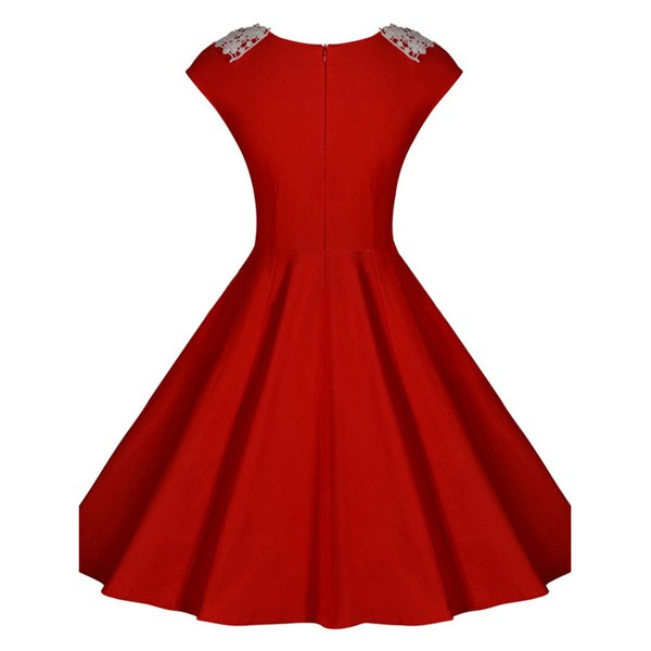 1950s Vintage Cap Sleeve Lace Single Color Party Swing A-line Dress CF1510 red_04