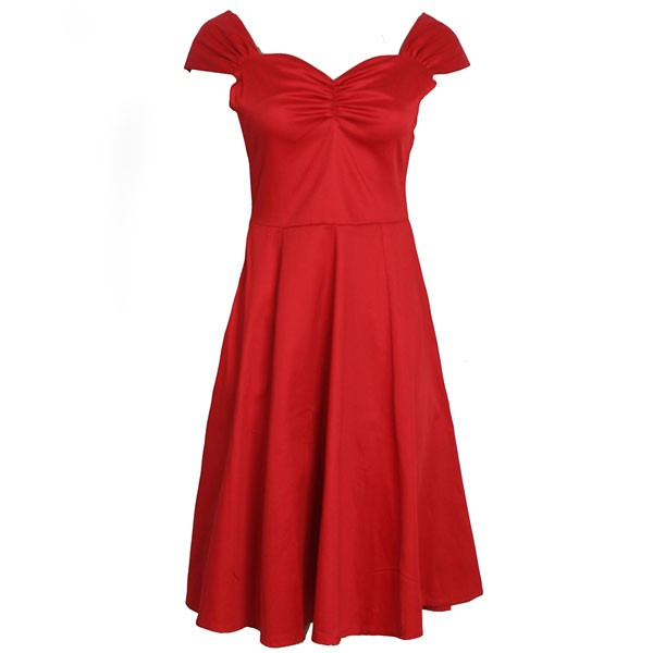 1950s Vintage Cap Sleeve Zip-up Single Color Party Swing A-line Dress CF1531 red_01