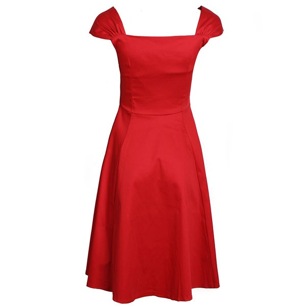 1950s Vintage Cap Sleeve Zip-up Single Color Party Swing A-line Dress CF1531 red_03