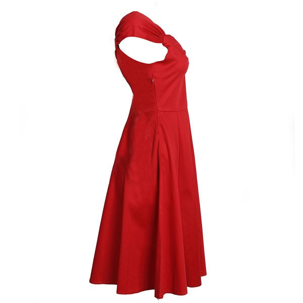 1950s Vintage Cap Sleeve Zip-up Single Color Party Swing A-line Dress CF1531 red_04