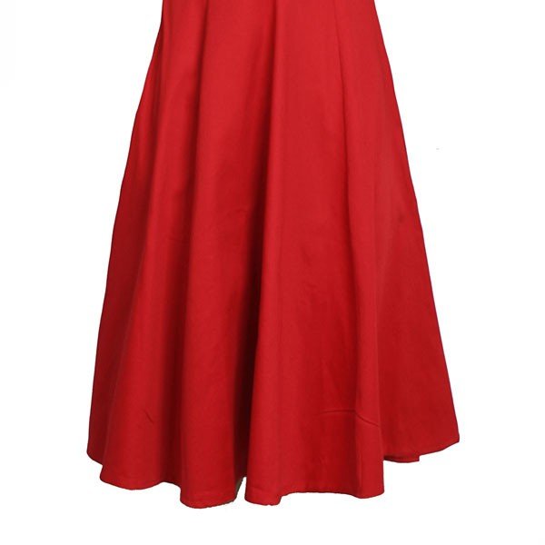 1950s Vintage Cap Sleeve Zip-up Single Color Party Swing A-line Dress CF1531 red_07