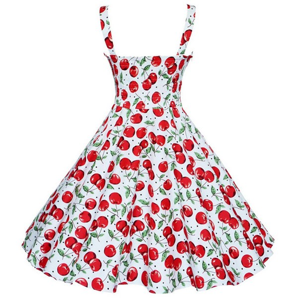 1950s Vintage Cherry-pattern Strappy Chest-wrapping A-line Summer Beach Swing Dress CF1534 red