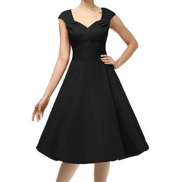 1950s Vintage Knee Length Cap Sleeve Single Color Party Swing A-line Dress CF1525 black