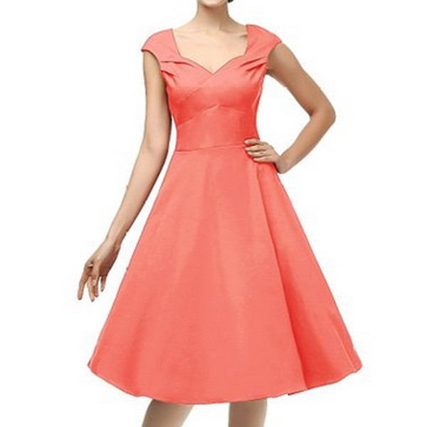 1950s Vintage Knee Length Cap Sleeve Single Color Party Swing A-line Dress CF1525 orange