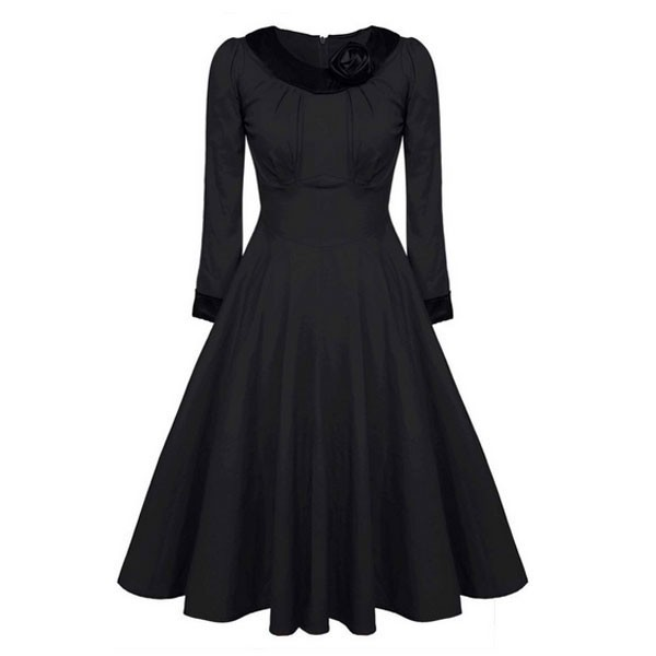 1950s Vintage Long Sleeve Collared Single Color Party Swing A-line Dress CF1508 black