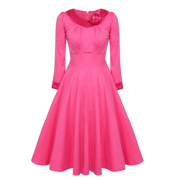 1950s Vintage Long Sleeve Collared Single Color Party Swing A-line Dress CF1508 pink