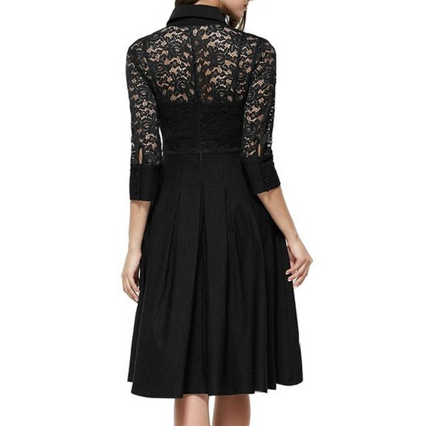 1950s Vintage long Sleeve Lace Waistband Collared Single Color Party Swing A-line Dress CF1528 black_02