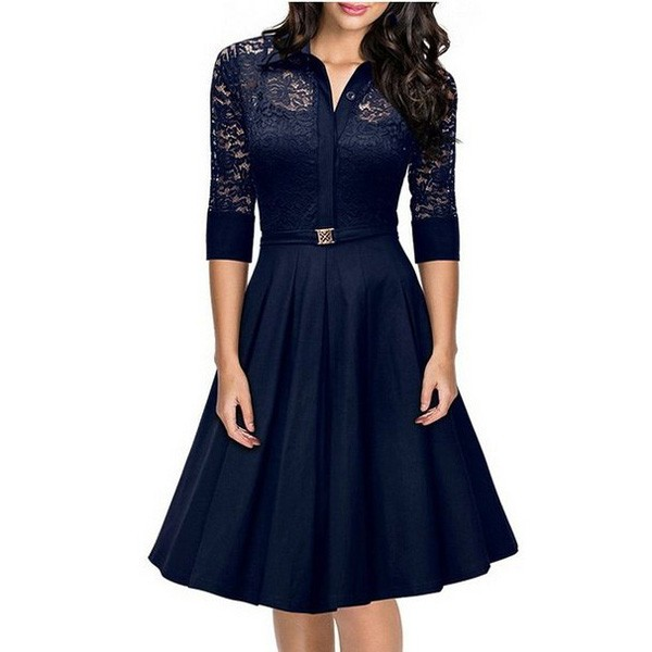 1950s Vintage long Sleeve Lace Waistband Collared Single Color Party Swing A-line Dress CF1528 blue