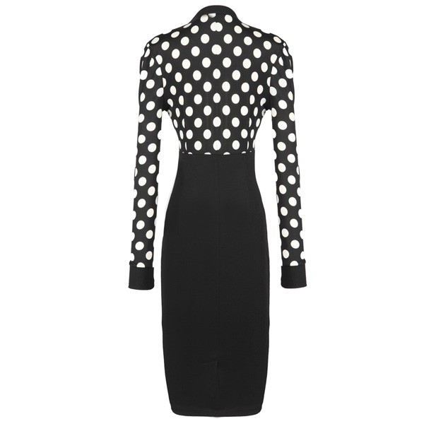 1950s Vintage Long Sleeve Office Polka Dots Party Pencil Dress CF1211_01
