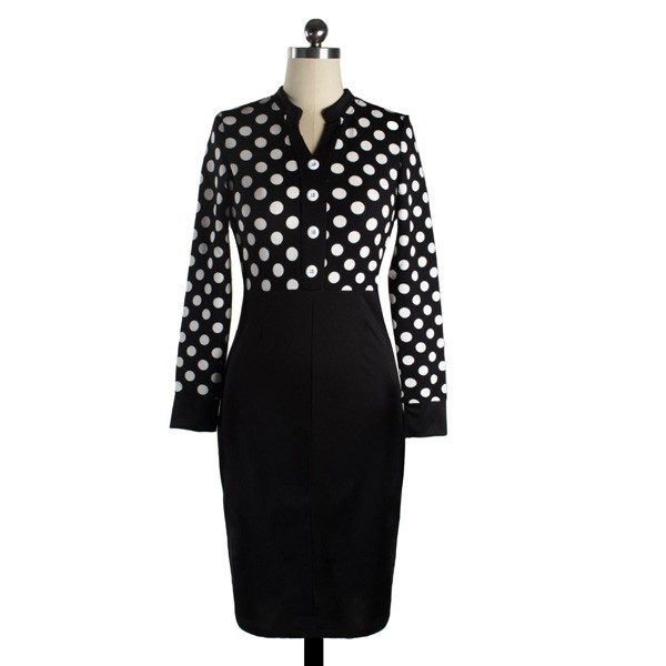 1950s Vintage Long Sleeve Office Polka Dots Party Pencil Dress CF1211_02
