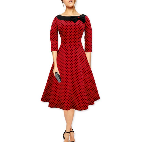 1950s Vintage Long Sleeve Polka Dots Bowknot Party Tunic Swing Dress CF1141 red