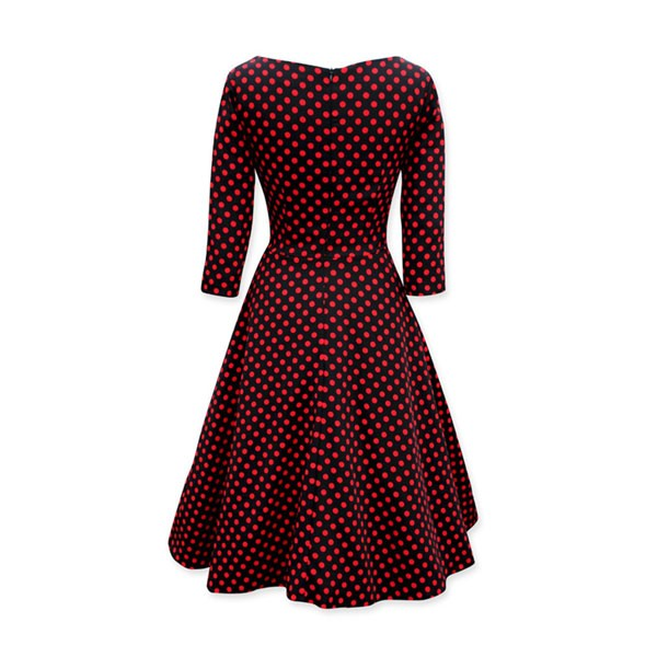 1950s Vintage Long Sleeve Polka Dots Bowknot Party Tunic Swing Dress CF1141 wine red_01