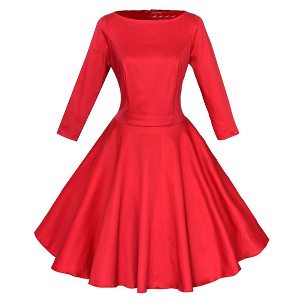 1950s Vintage Long Sleeve Single Color Party Tunic A-line Swing Dress CF1140 red_01
