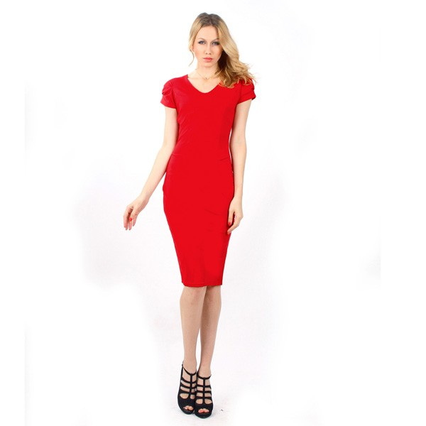 1950s Vintage Short Sleeve Office Party Single Color Pencil Dress CF1107 red
