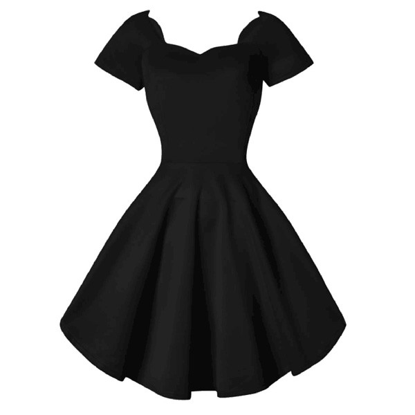 1950s Vintage Short Sleeve Waistband Wary-edged Zip-up Single Color Party Swing A-line Dress CF1529 black