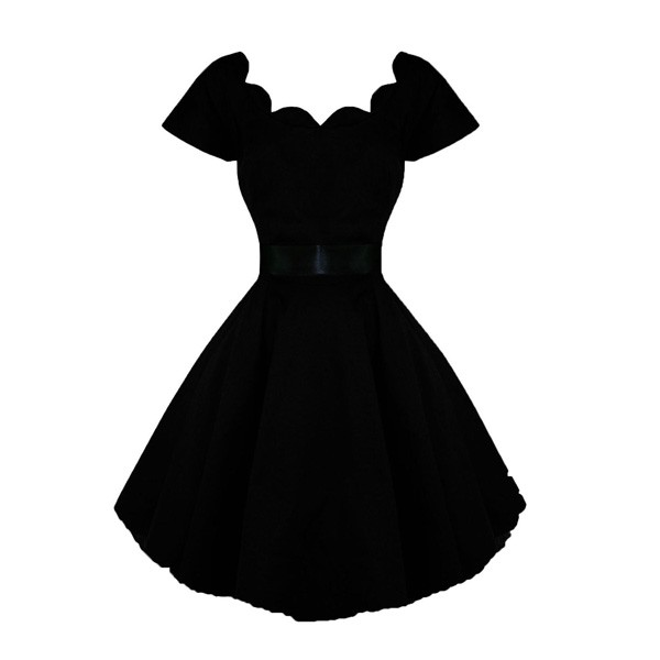 1950s Vintage Short Sleeve Waistband Wary-edged Zip-up Single Color Party Swing A-line Dress CF1529 black_01