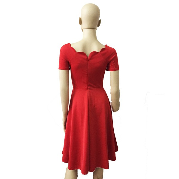 1950s Vintage Short Sleeve Waistband Wary-edged Zip-up Single Color Party Swing A-line Dress CF1529 red_01