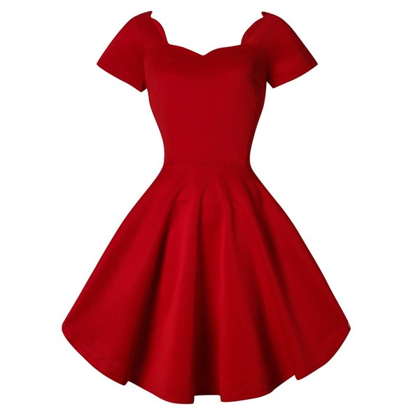 1950s Vintage Short Sleeve Waistband Wary-edged Zip-up Single Color Party Swing A-line Dress CF1529 red_02