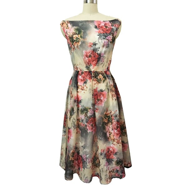 1950s Vintage Sleeveless Tunic Floral Zip-up Office Party Swing Dress CF1536 floral