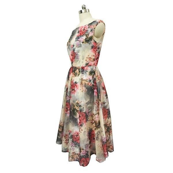 1950s Vintage Sleeveless Tunic Floral Zip-up Office Party Swing Dress CF1536 floral_01