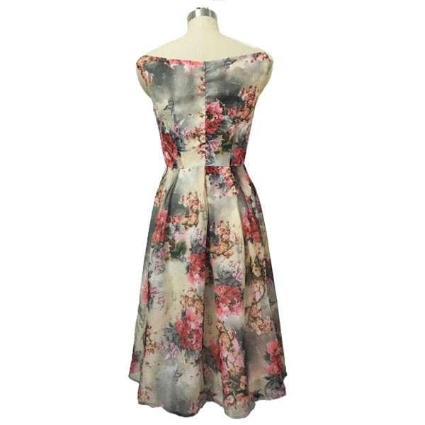 1950s Vintage Sleeveless Tunic Floral Zip-up Office Party Swing Dress CF1536 floral_02