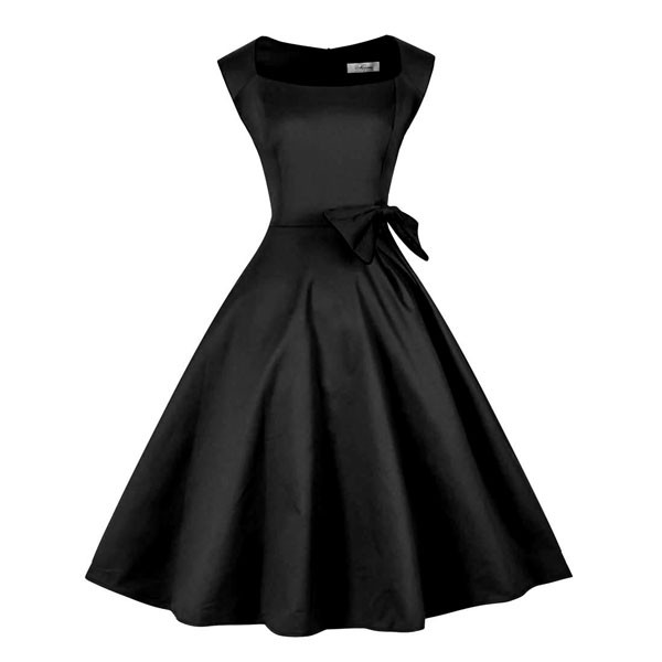 1950s Vintage Sleeveless Waistband Zip-up Single Color Party Swing A-line Dress CF1533 black