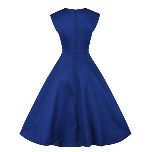 1950s Vintage Sleeveless Waistband Zip-up Single Color Party Swing A-line Dress CF1533 blue_01