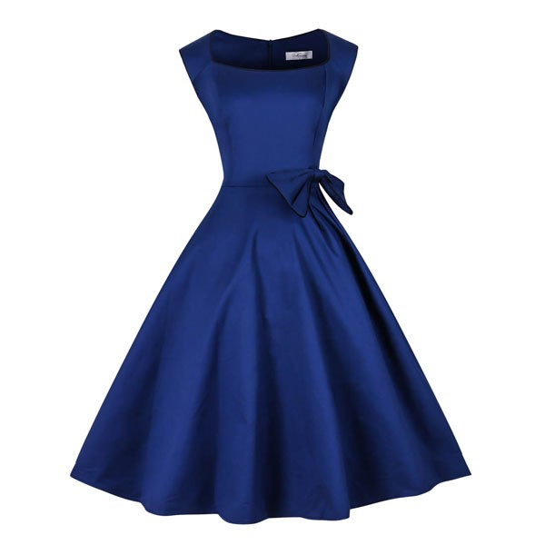 1950s Vintage Sleeveless Waistband Zip-up Single Color Party Swing A-line Dress CF1533 blue