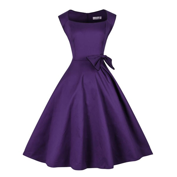 1950s Vintage Sleeveless Waistband Zip-up Single Color Party Swing A-line Dress CF1533 purple