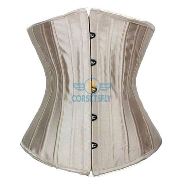 24 Double Spiral Steel Boned Underbust Heavy Duty Waist Training Corset CF7513 Beige