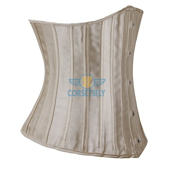 24 Double Spiral Steel Boned Underbust Heavy Duty Waist Training Corset CF7513 Beige_01