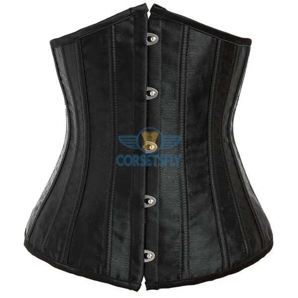 24 Double Spiral Steel Boned Underbust Heavy Duty Waist Training Corset CF7513 Black