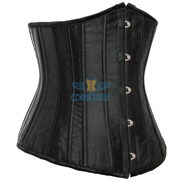 24 Double Spiral Steel Boned Underbust Heavy Duty Waist Training Corset CF7513 Black_01