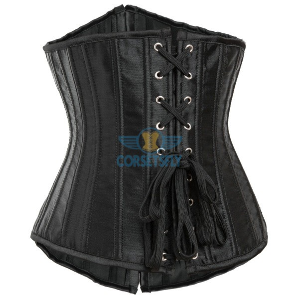 24 Double Spiral Steel Boned Underbust Heavy Duty Waist Training Corset CF7513 Black_02