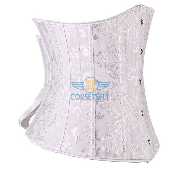 24 Double Spiral Steel Boned Underbust Heavy Duty Waist Training Corset CF7513 White_01