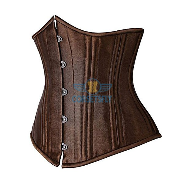 24 Flexible Double Steel Bones Super Strength Waist Training Corset CF7533 Brown_01