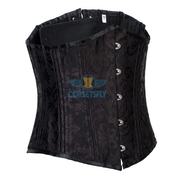 24 Spiral Steel Boned Brocade Underbust Waist Training Exercises Corset CF7534_01