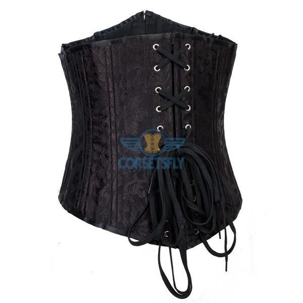 24 Spiral Steel Boned Brocade Underbust Waist Training Exercises Corset CF7534_02