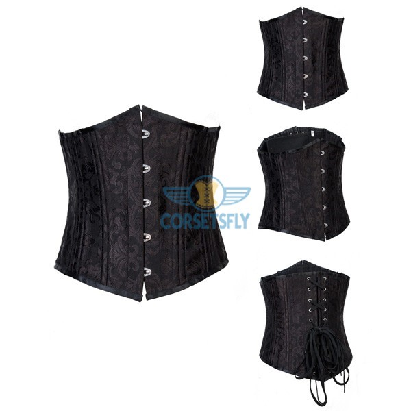 24 Spiral Steel Boned Brocade Underbust Waist Training Exercises Corset CF7534_04