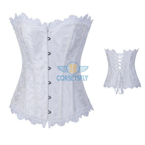 Lace Trim on Top Bottom Jacquard Weave Embroidered Overbust Corset CF7084 White_02