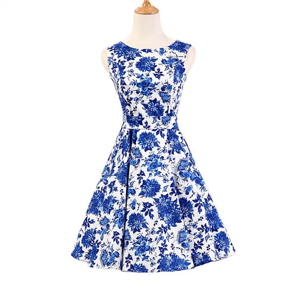 50s 60s Vintage Rockabilly Swing Picnic Party Beauty Ball Dress Floral CF1008 Blue Floral